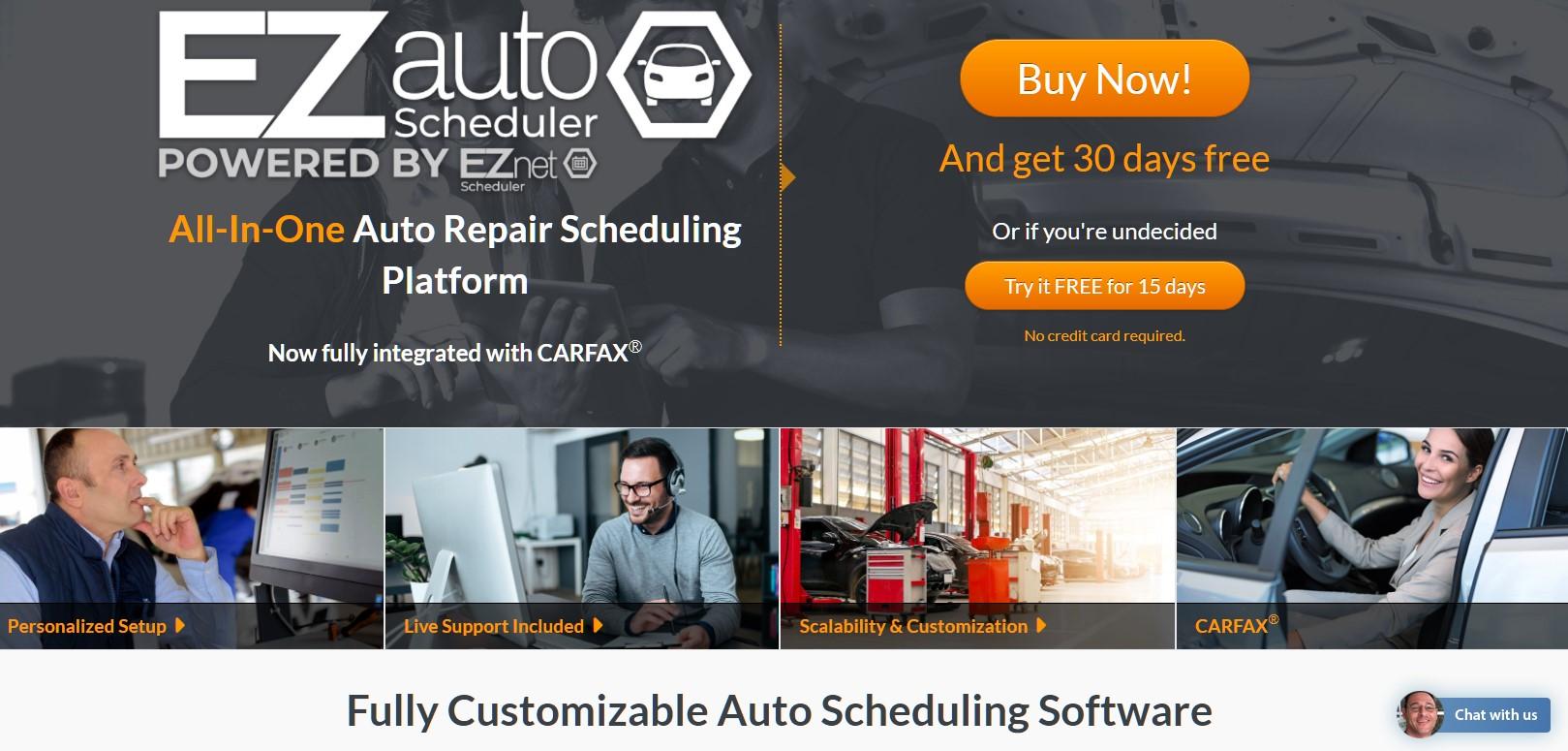 Image of the EZauto Scheduler website.