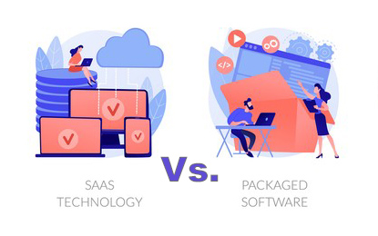 Illustration of packaged software and software as a service (SaaS)