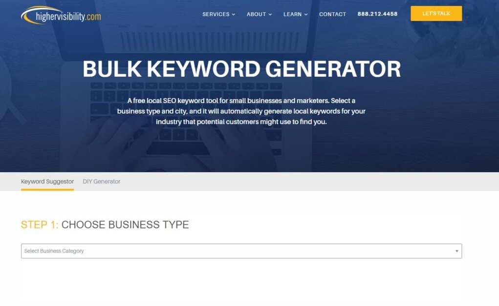 Screen shot of the Bulk Keyword Generator home page
