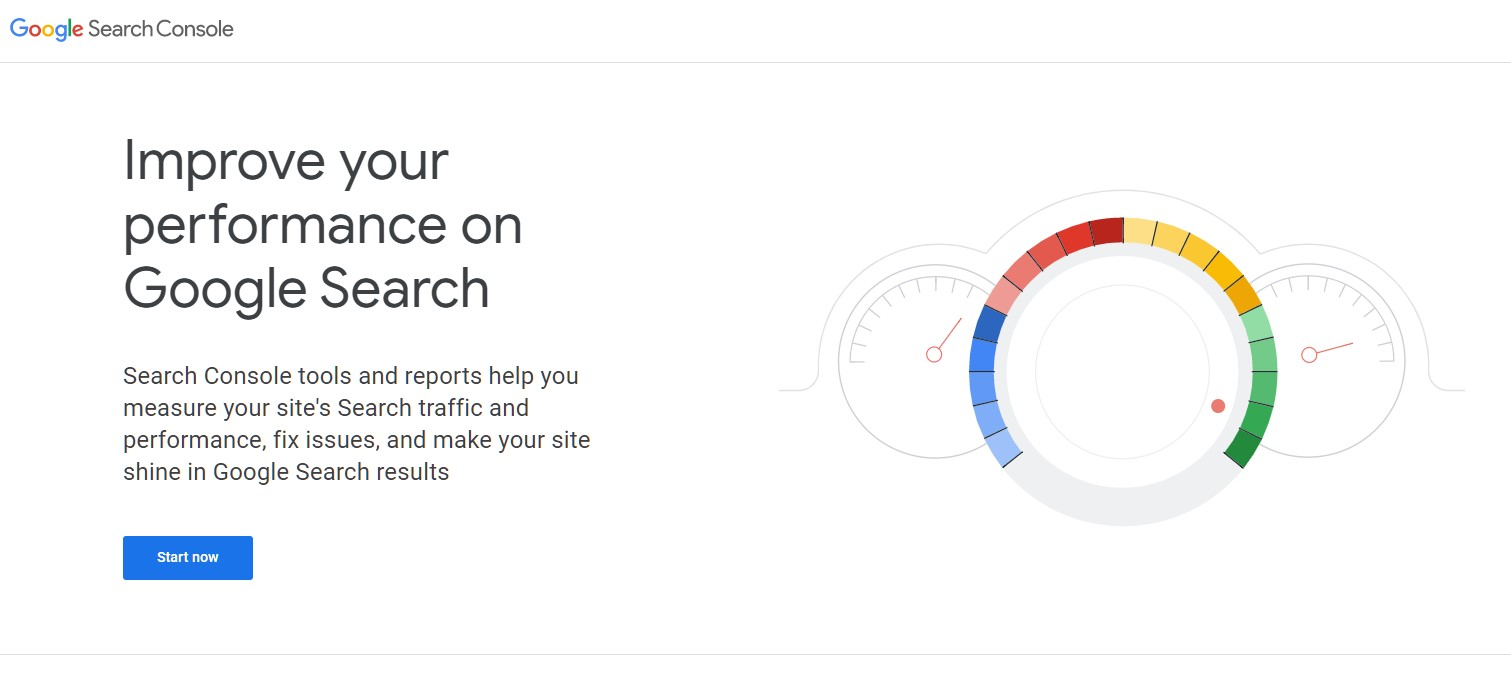 Screen shot of the Google Search Console home page