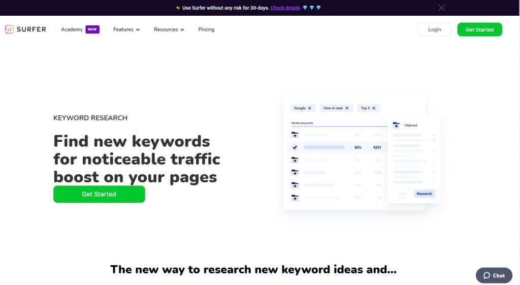 Screen shot of the Keyword Surfer home page