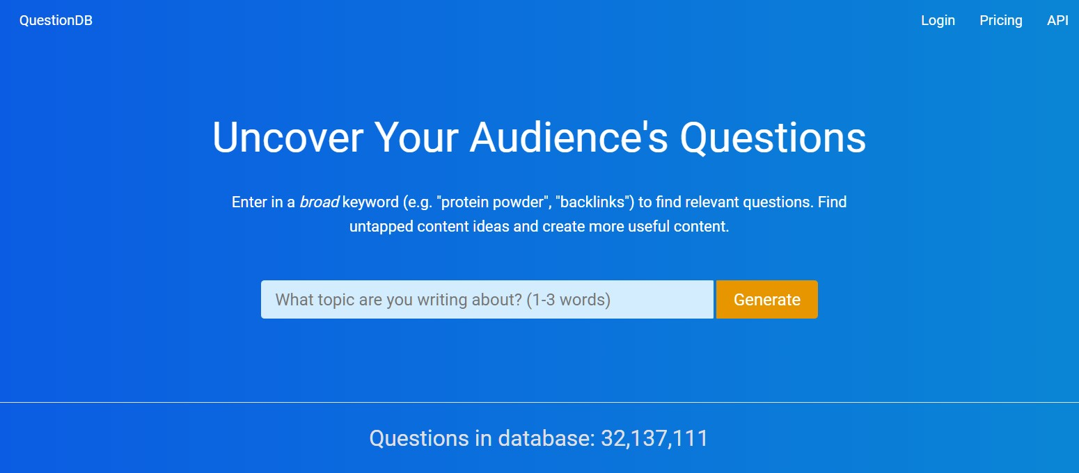 Screen shot of the Questiondb home page